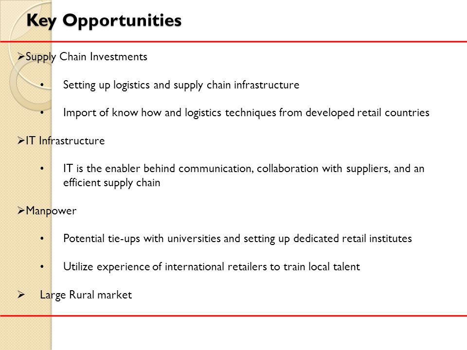 Key Opportunities Supply Chain Investments