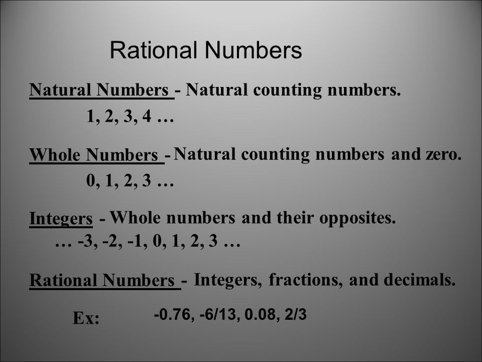 Rational Numbers Natural Numbers - Natural counting numbers.