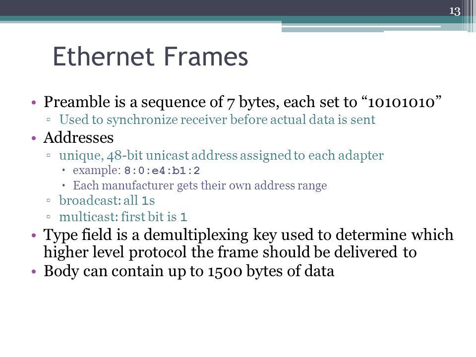 13 ethernet - Ethernet Frames