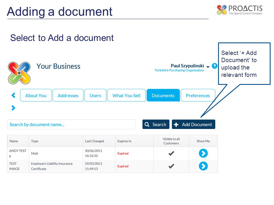 Adding a document Select to Add a document