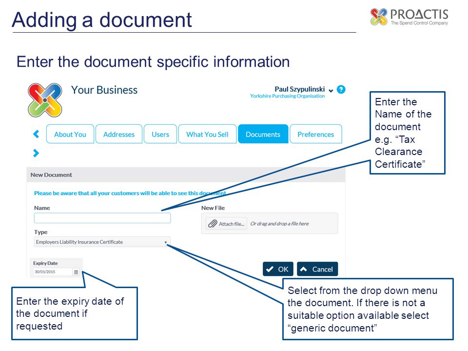 Adding a document Enter the document specific information
