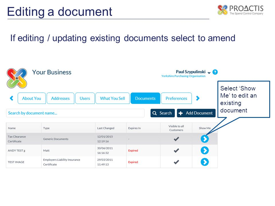 Editing a document If editing / updating existing documents select to amend.