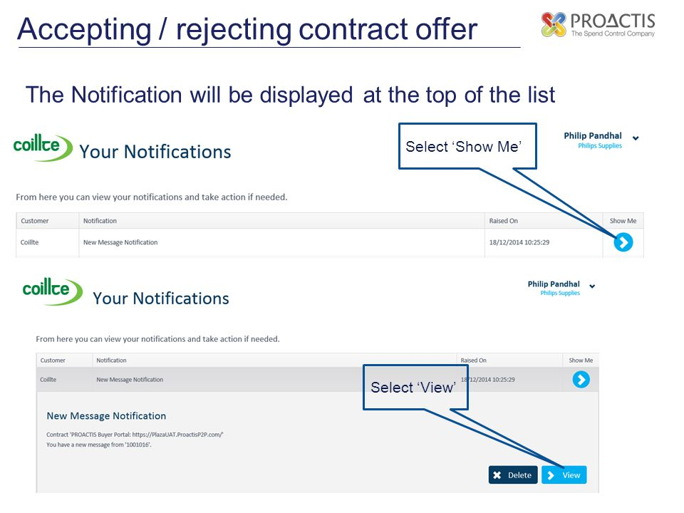 Accepting / rejecting contract offer