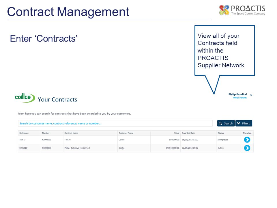 Contract Management Enter 'Contracts'