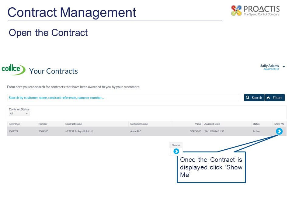 Contract Management Open the Contract