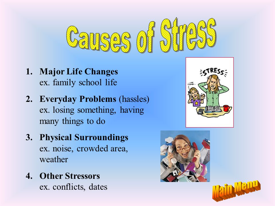Causes of Stress Main Menu Major Life Changes ex. family school life