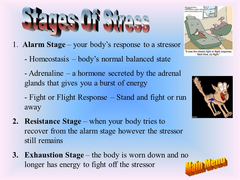 Stages Of Stress Main Menu