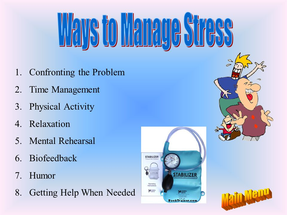 Ways to Manage Stress Main Menu Confronting the Problem