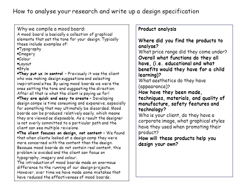 How to write a 'Product Design Specification'.