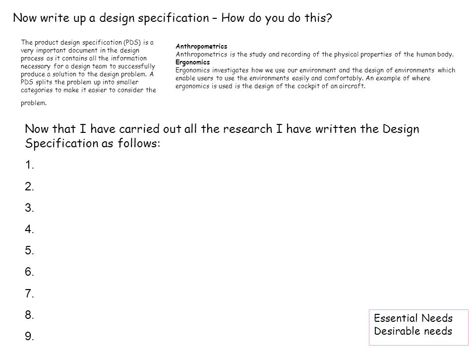 how to write a project specification