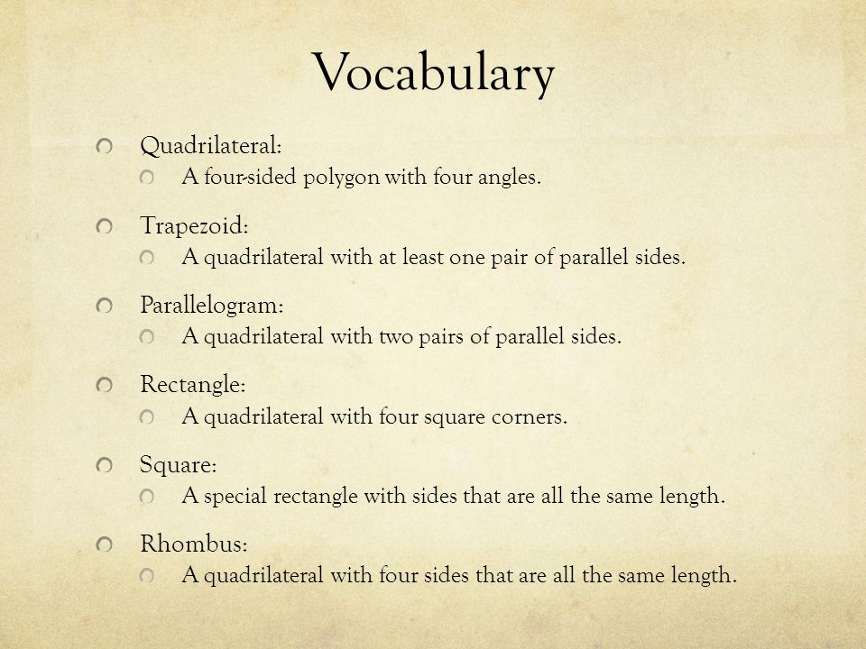 Vocabulary Quadrilateral: Trapezoid: Parallelogram: Rectangle: Square: