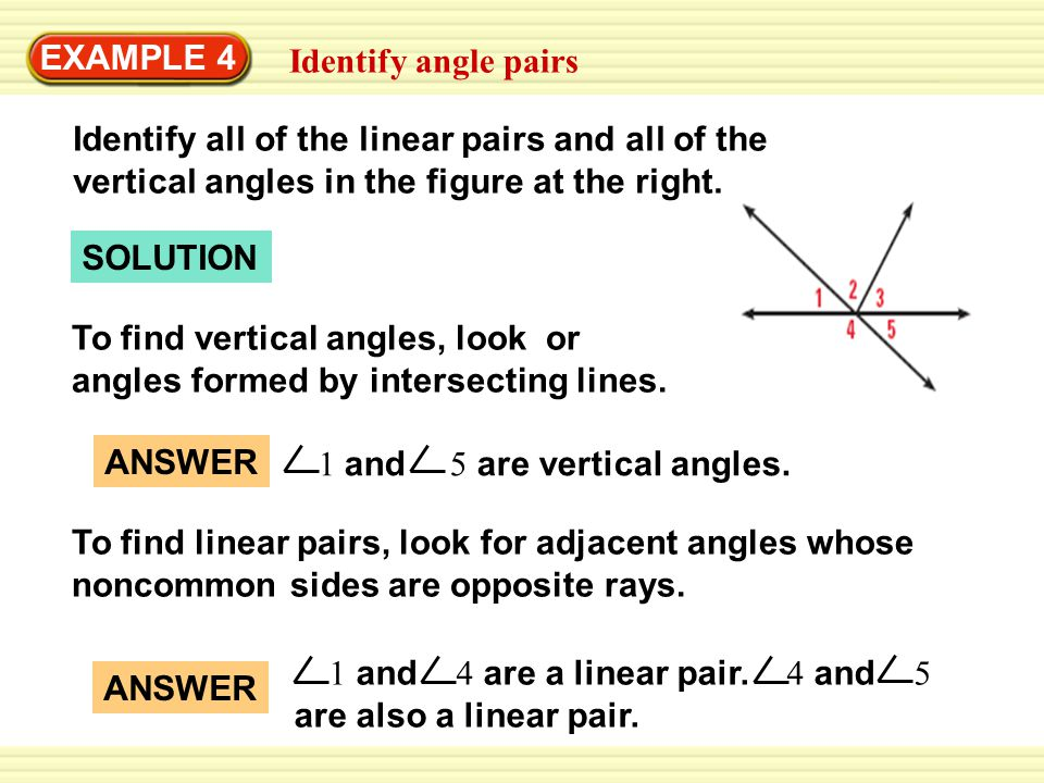 EXAMPLE 4 Identify angle pairs. Identify all of the linear pairs and all of the vertical angles in the figure at the right.