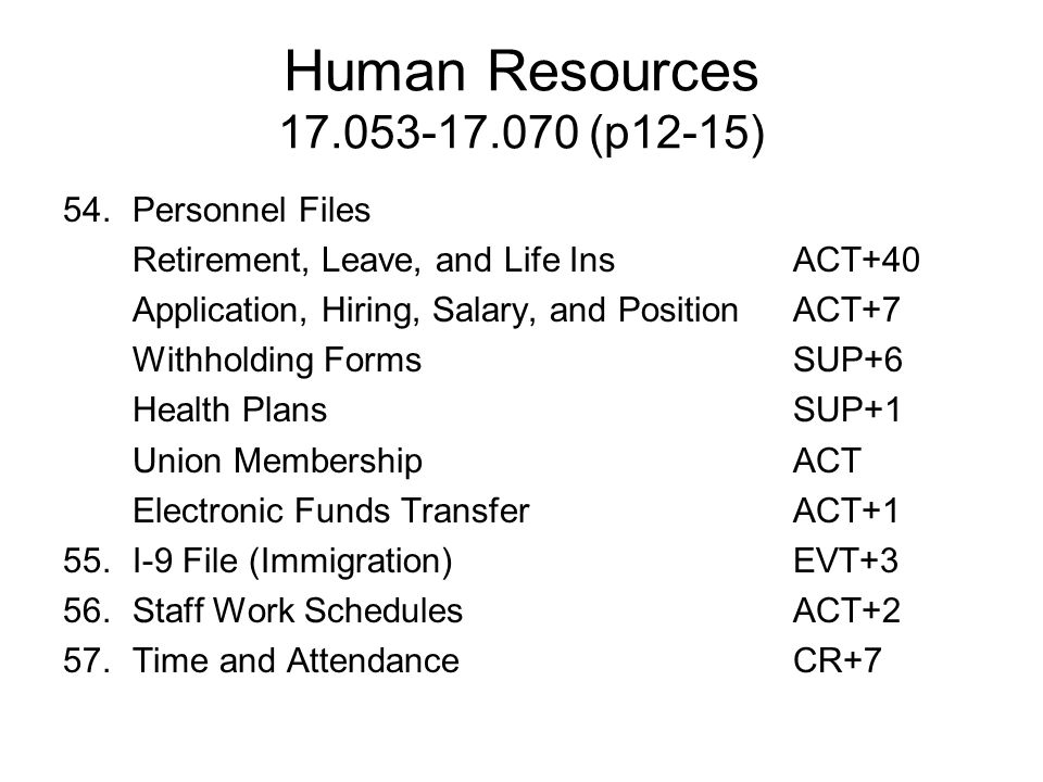 Human Resources 17.053-17.070 (p12-15) 54. Personnel Files