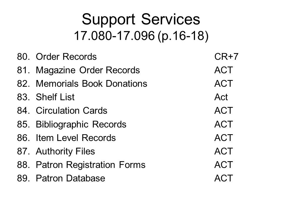 Support Services 17.080-17.096 (p.16-18)