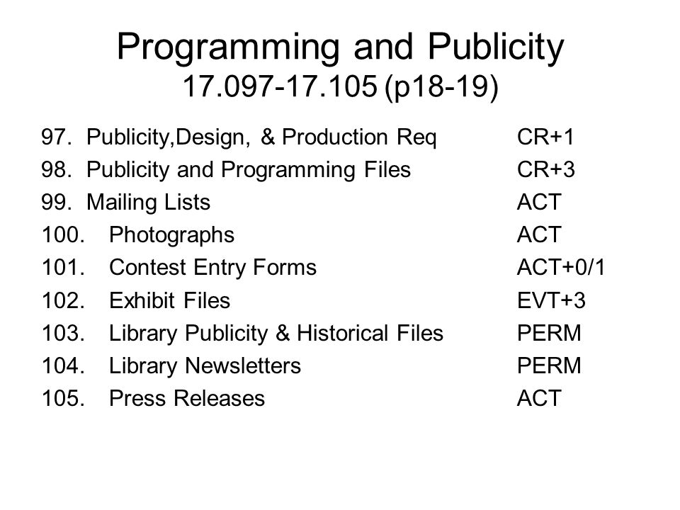 Programming and Publicity 17.097-17.105 (p18-19)