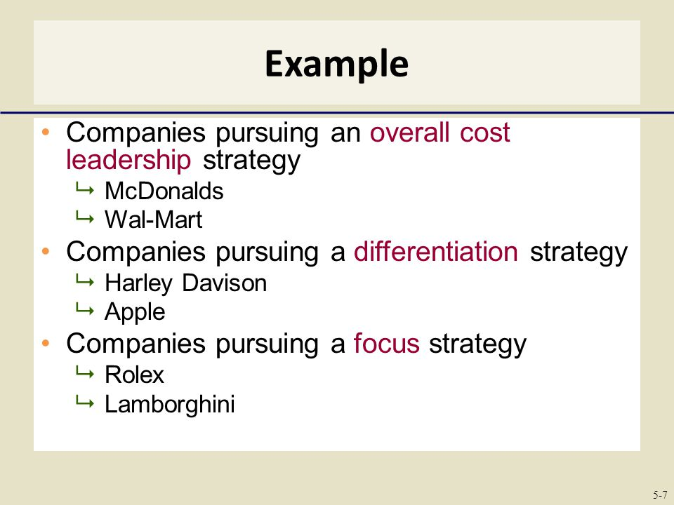 example of companies operating with cost leadership strategy Operations managers turn these into tasks to be completed in order to   learning from businesses in other countries can provide insight into how to do  that  for example: what does your organization contribute to society  as  long as the low-cost leadership is in line with strategy and mission, anything is  possible.