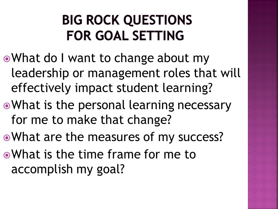 Big Rock Questions for Goal Setting