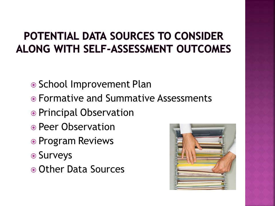 Potential Data Sources to Consider Along with Self-Assessment Outcomes