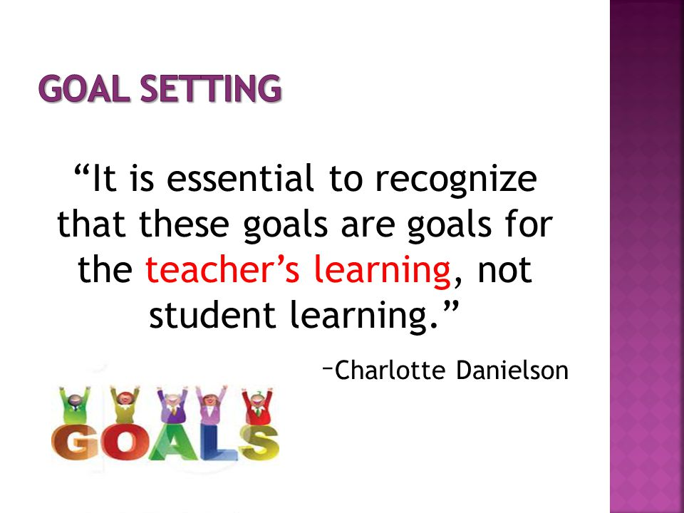 Goal Setting It is essential to recognize that these goals are goals for the teacher's learning, not student learning.