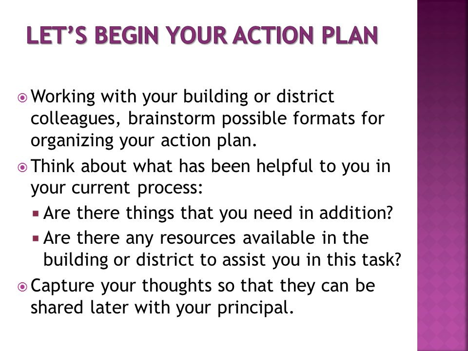 Let's begin YOUR Action Plan