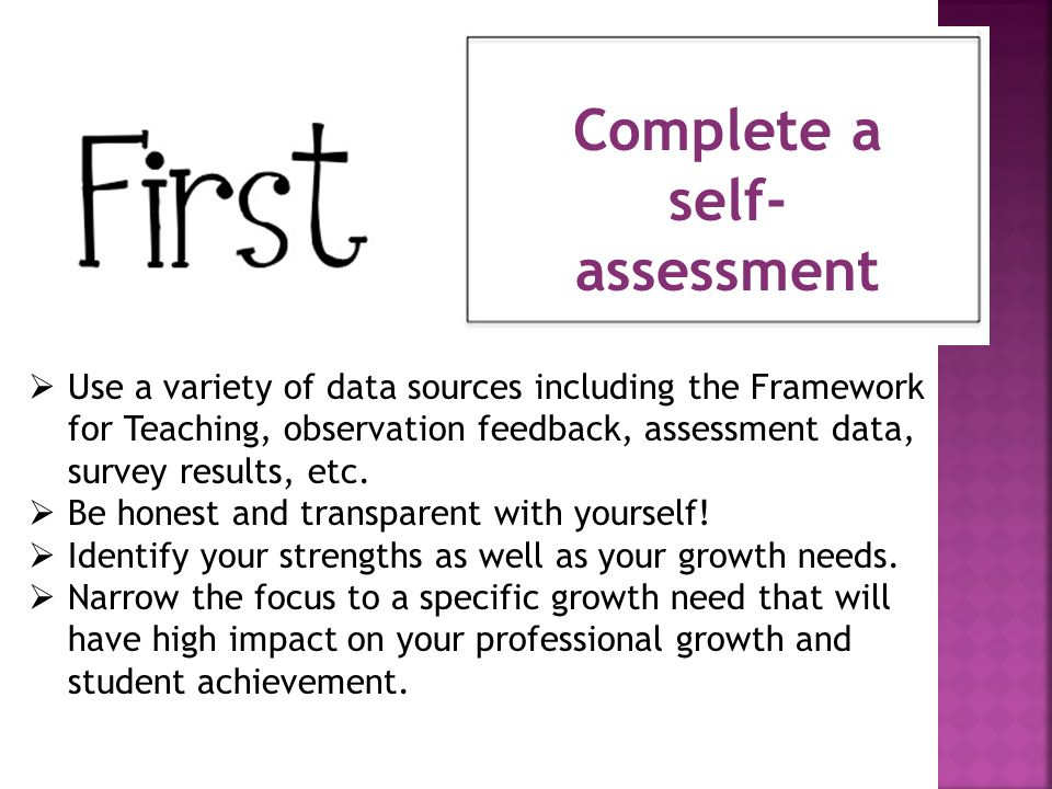 Complete a self-assessment