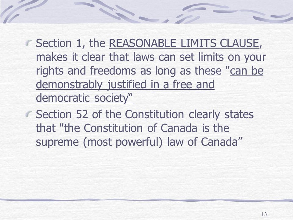 reasonable limits clause Chapter 6– the constitution and business  to limit the actions of the other two branches  was a limit to the reach of the commerce clause.