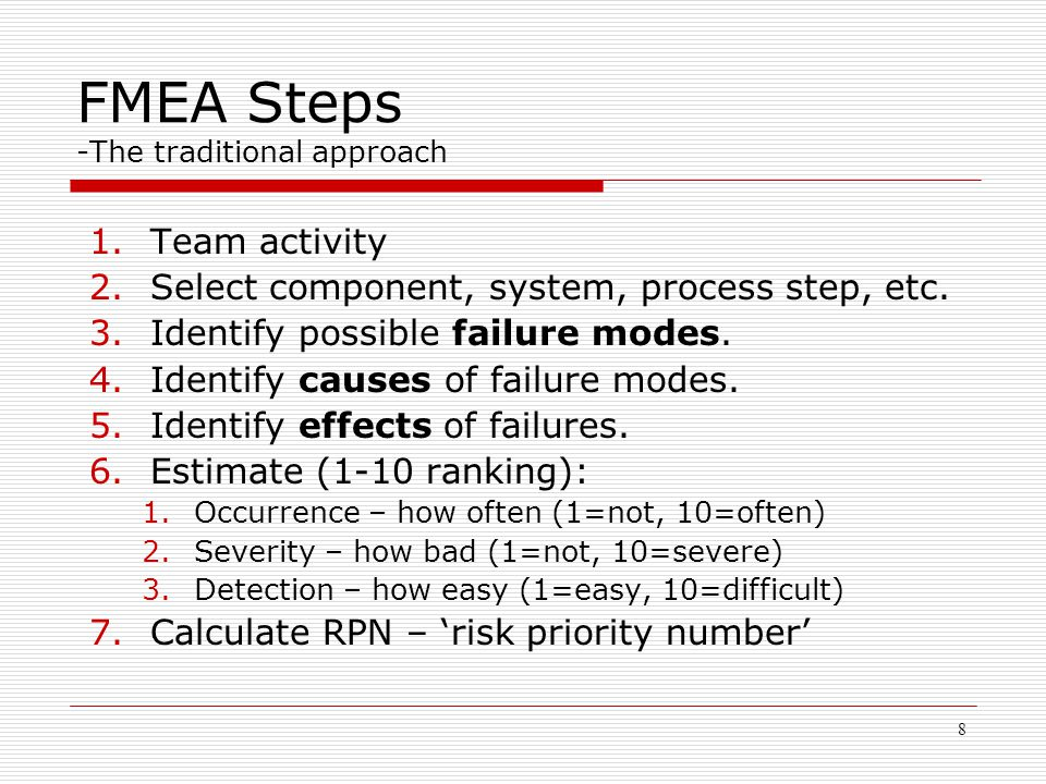 Systems engineering risk analysis with fmea ppt video - Fmea severity occurrence detection table ...