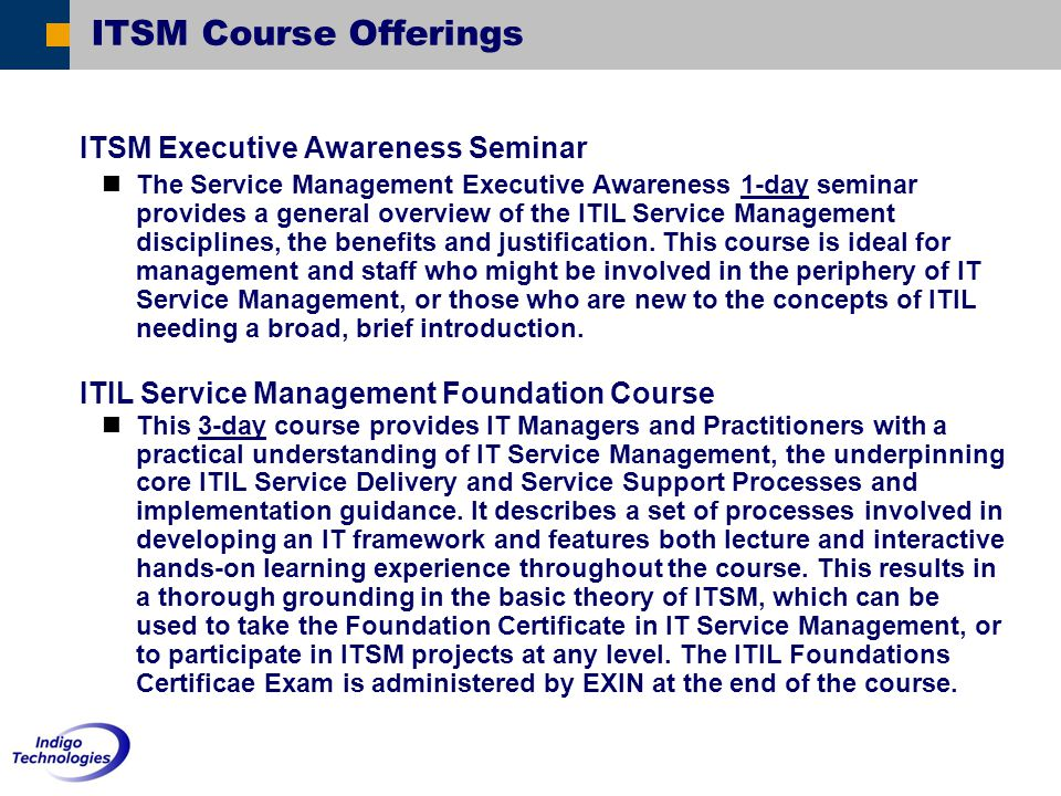 ITSM Course Offerings ITSM Executive Awareness Seminar