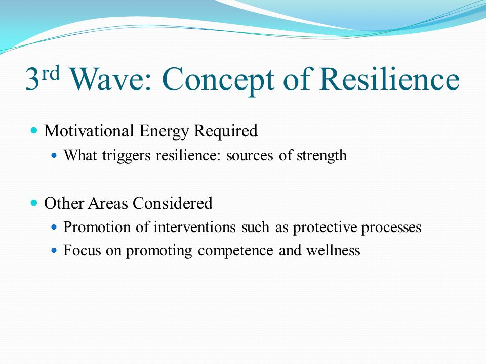 a study on the risk and resiliency theory Knowledge of protective factors and risk factors has been consolidated through  research on resiliency over 40 years1,2 several retrospective studies have been .