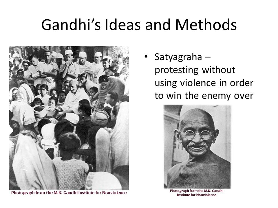 the methods of gandhi Nonviolence as a political tool was the brainchild of a lawyer, m k gandhi, who  first tested the method in south africa and then deployed it to.