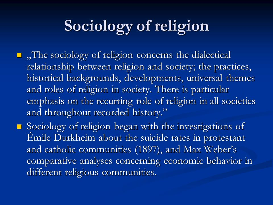 an overview of sociology of religion