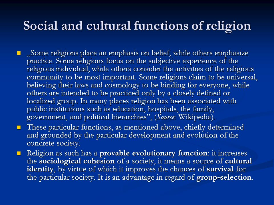 Religions function in society