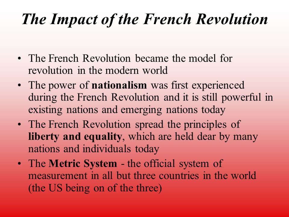the impact of the enlightenment era on the french revolution This sample research paper discusses the progress of the enlightenment and the impact that the movement had on the french revolution.