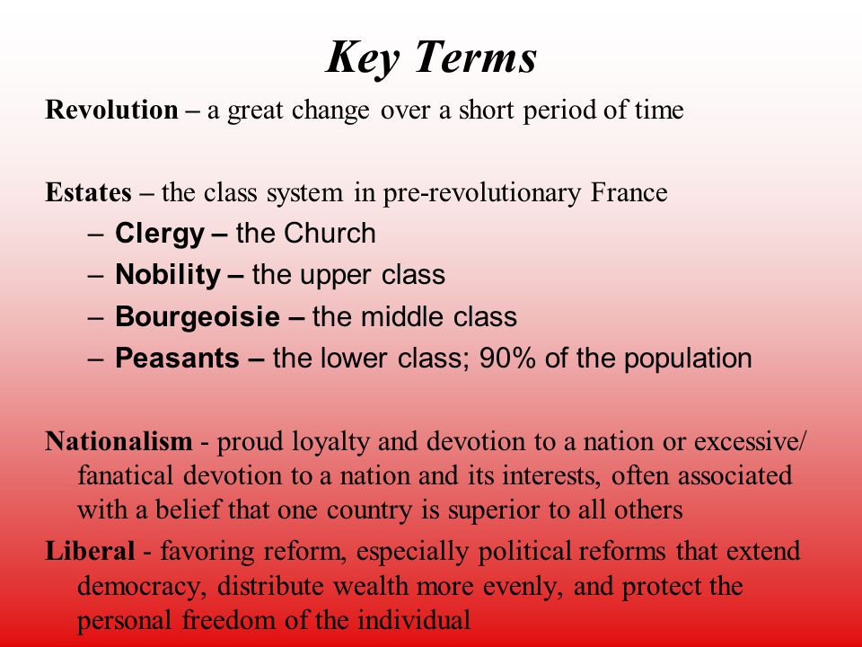 Estates – the class system in pre-revolutionary France. Clergy ... French Revolution Estates System