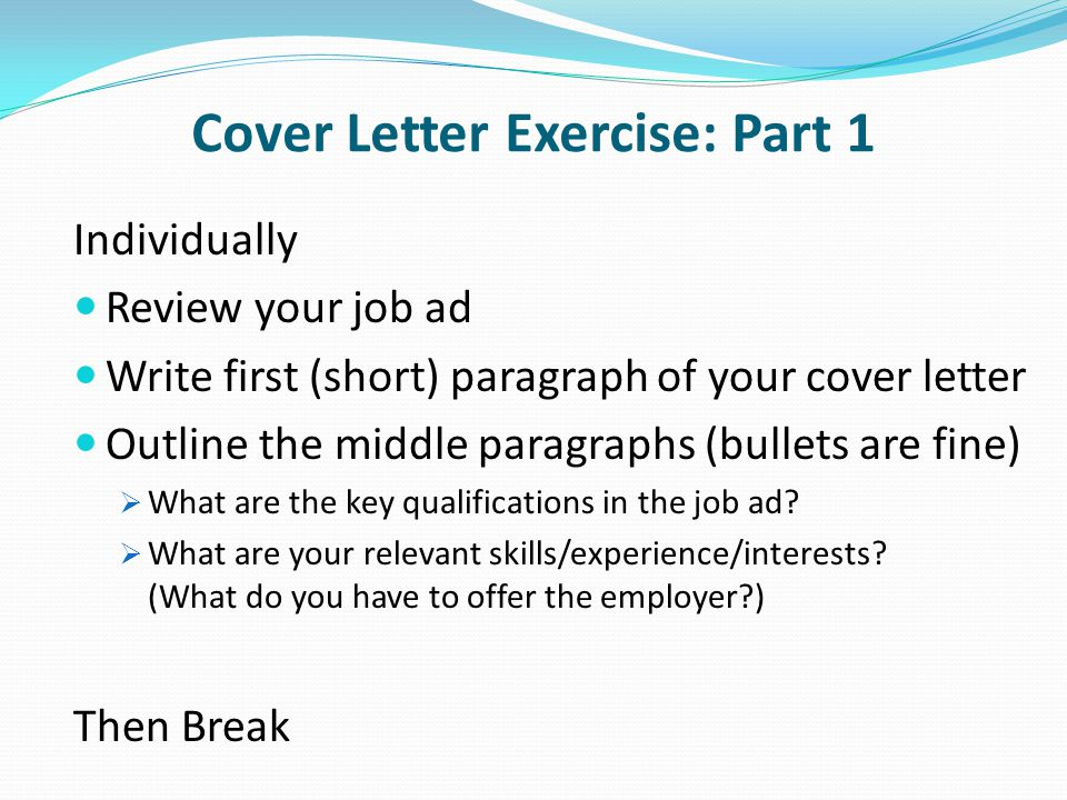 Ocn 750 class 10 march 18 applying for jobs ppt video for One paragraph cover letter