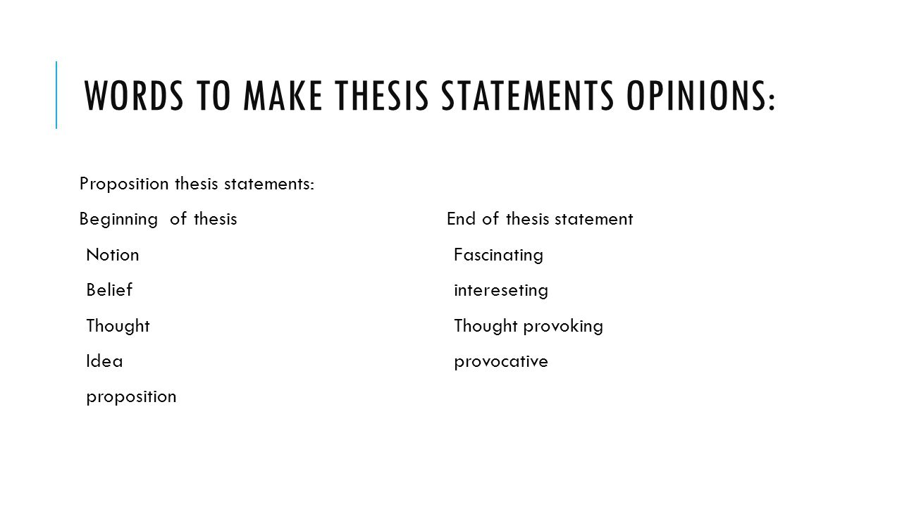 Thesis statement beginning words