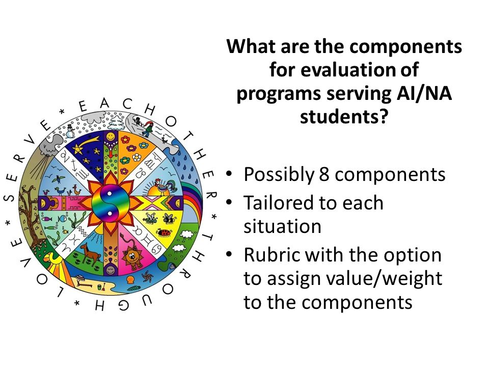 What are the components for evaluation of programs serving AI/NA students