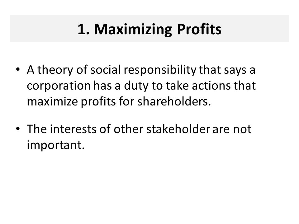 Maximizing Profits and the Theory of Social Responsibility of Business