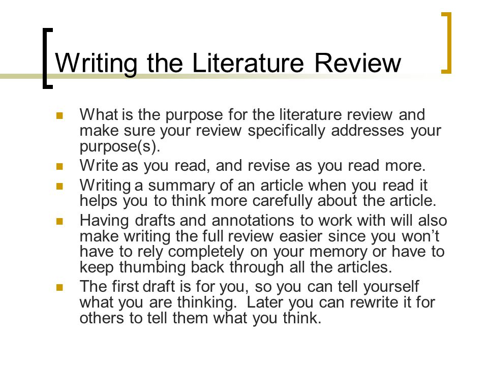 Literature review on creative writing