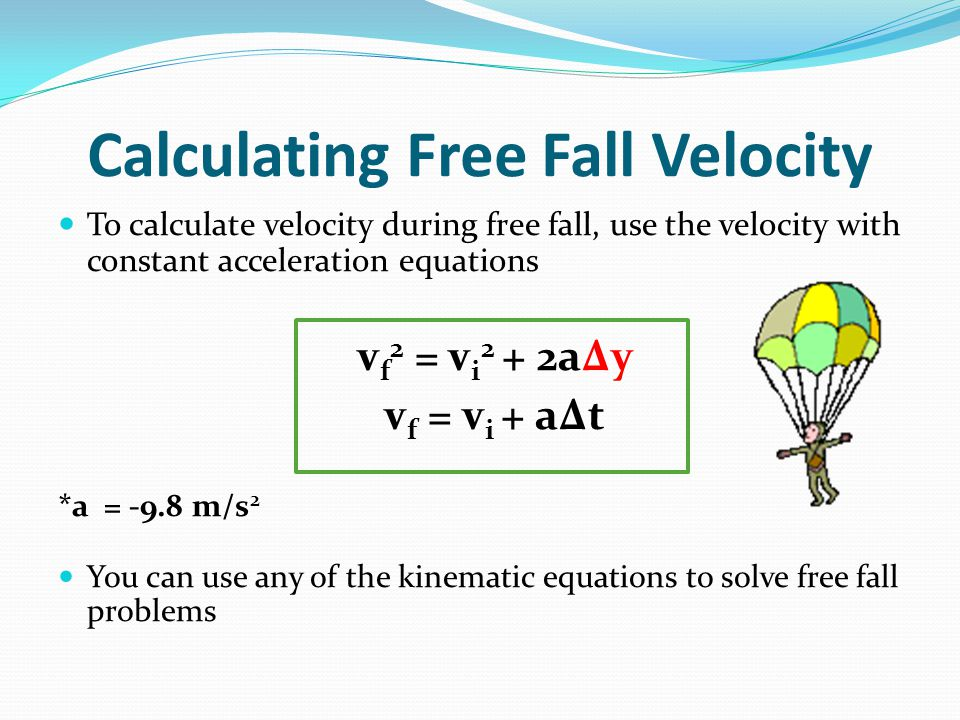 problem solving and free falling object During free-fall the only force that should be acting upon the object is the earth's gravitational pull (98 m/s/s), therefore the velocity of the object should always equal 98 m/s/s in.