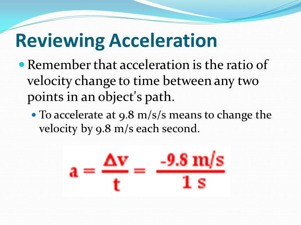 Reviewing Acceleration