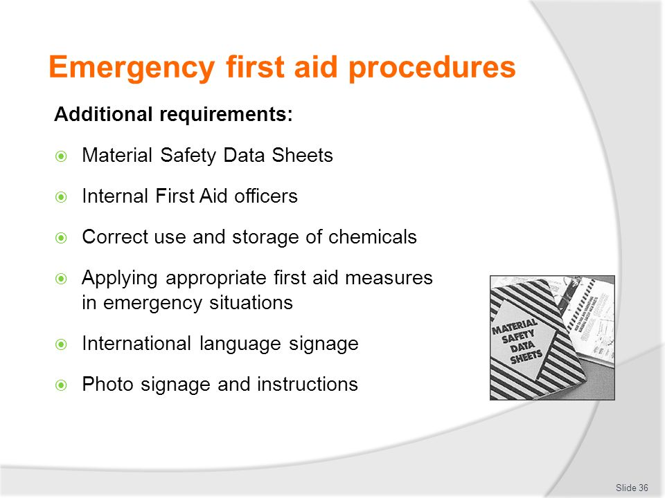 correct first aid procedures First aid and infection prevention and control  communicating first aid procedures and the  first aid and infection prevention and control procedure.