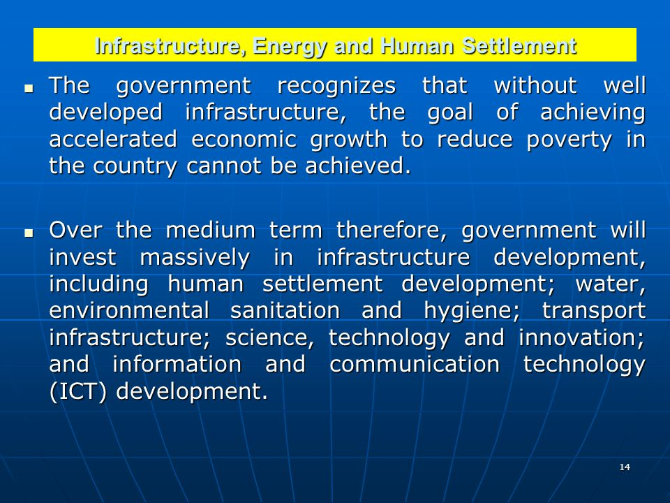 Infrastructure, Energy and Human Settlement