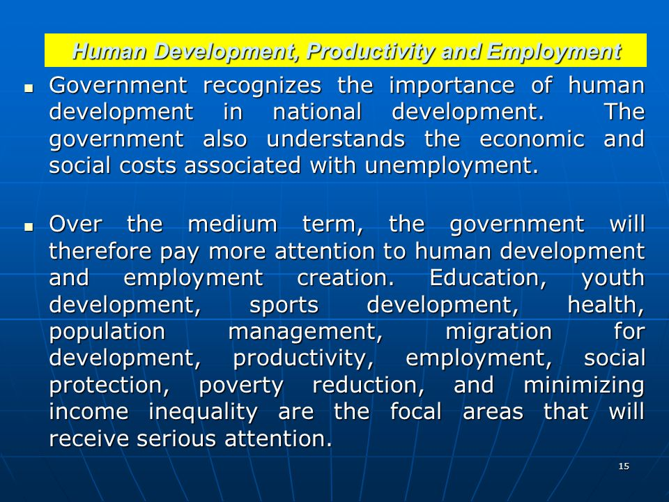 Human Development, Productivity and Employment