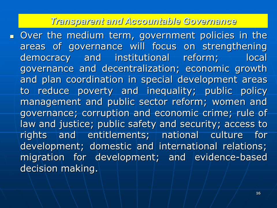 Transparent and Accountable Governance