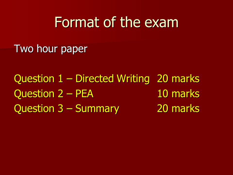 directed writing reports questions in igcse Spm sample of essays - directed writing directed writing: 35  he advised the residents to be alert and reports to police.