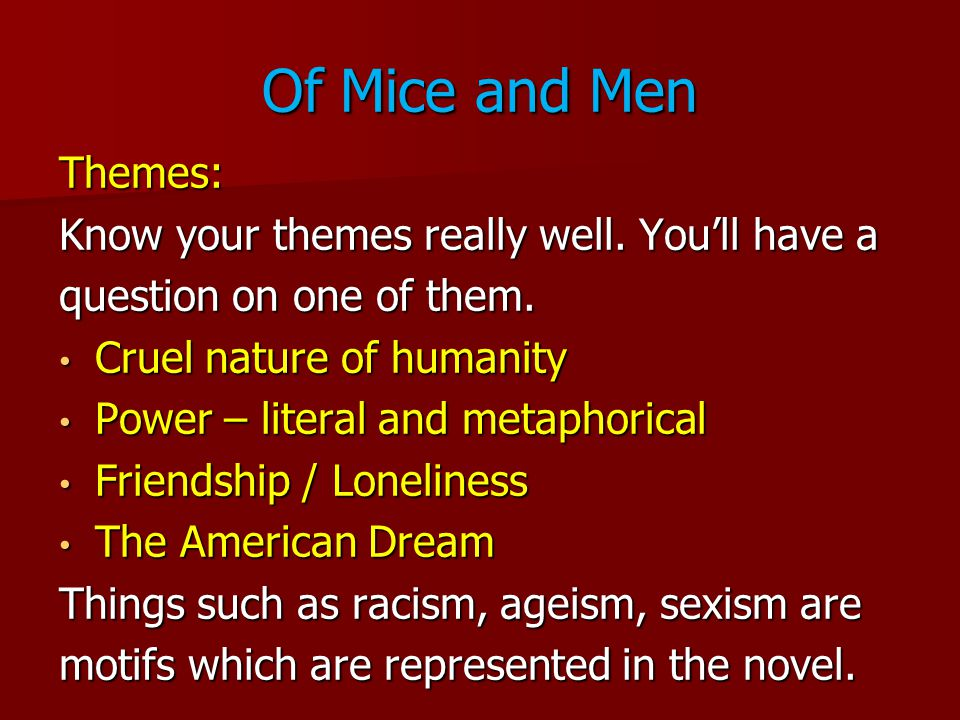 Discuss the themes of loneliness and dreams in the novel Of Mice and Men by John Steinbeck