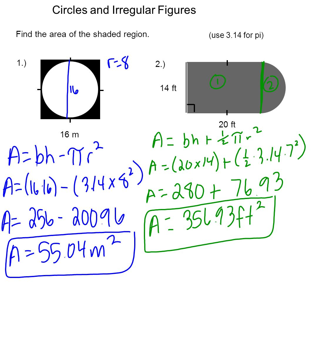Uncategorized Area Of Shaded Region Worksheet area and circumference of circles ppt video online download 8 irregular figures find the shaded region