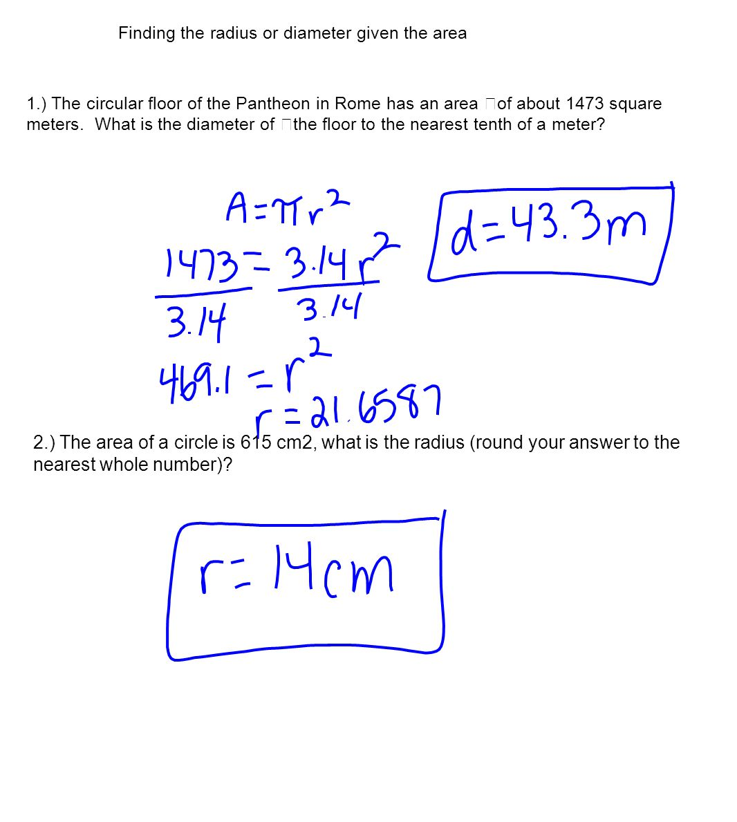 Finding The Radius Or Diameter Given The Area