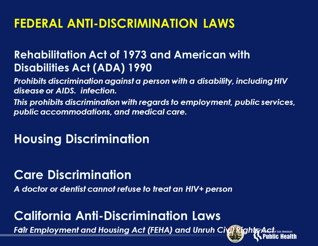employment labor and anti discrimination law Equal employment opportunity (eeo) laws prohibit specific types of job discrimination in certain workplaces the department of labor has two agencies which deal with eeo monitoring and enforcement, the civil rights center and the office of federal contract compliance programs.